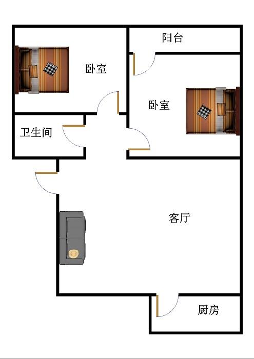 新苑小区 2室2厅 双证齐全过五年 简装 85万
