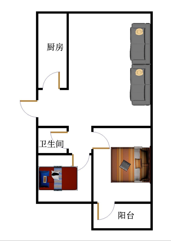 长河小区 2室1厅 双证齐全过五年 简装 58万