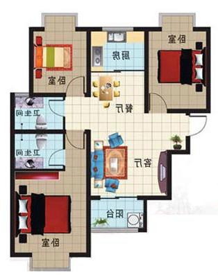 凯旋花园 3室2厅 17楼
