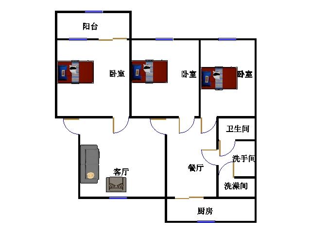 建兴小区南 3室2厅 过五年 简装 85万