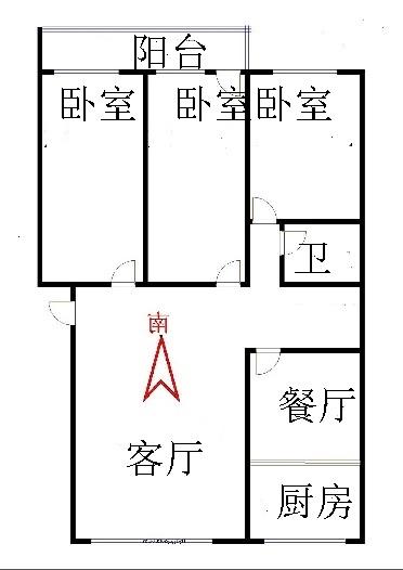 华腾家园 3室2厅 4楼