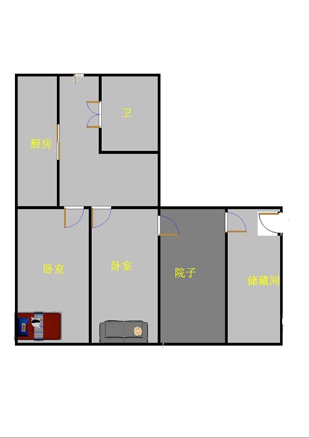 二棉宿舍 2室1厅 双证齐全 简装 69万