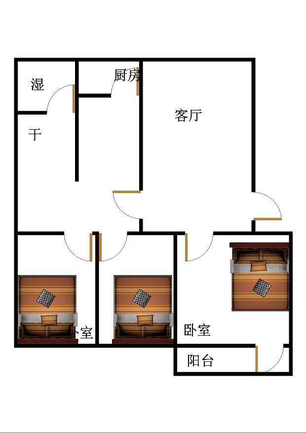 农业局宿舍(市) 3室2厅  简装 95万