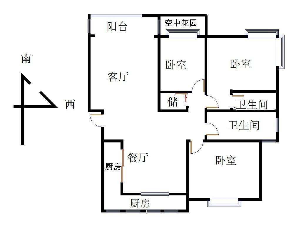 新城市花园小区 3室2厅  简装 155万