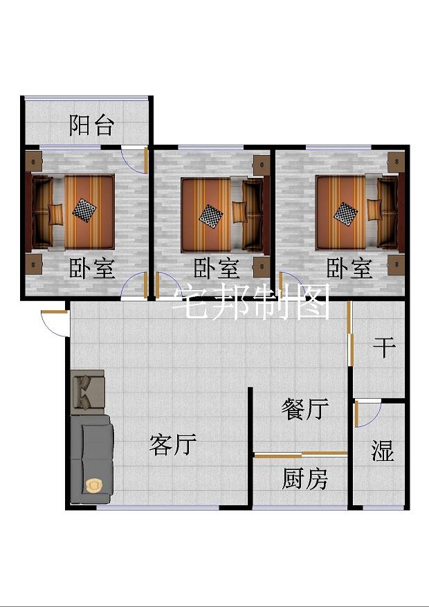 市直小区 3室2厅 2楼