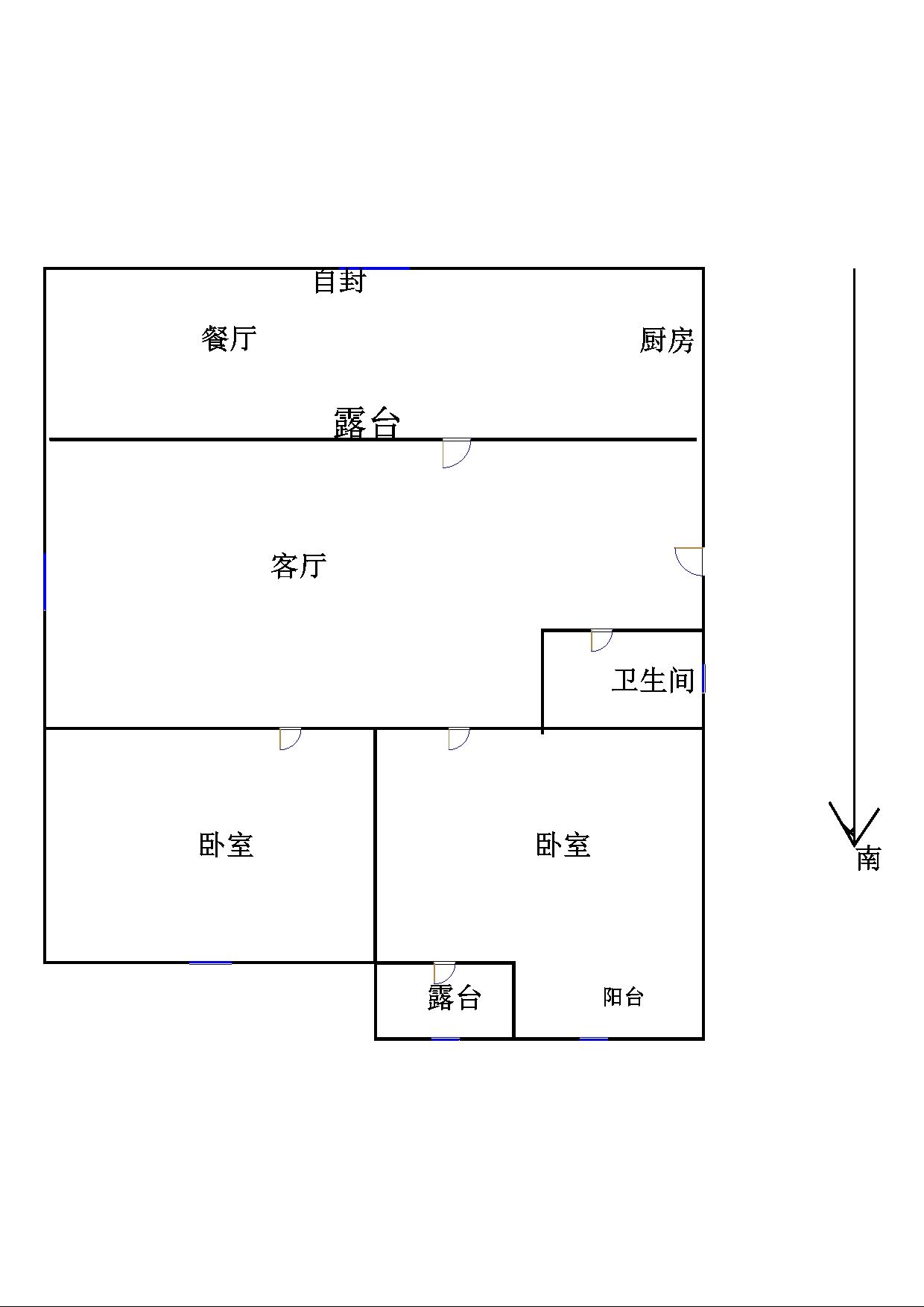 东海现代城小区 2室1厅 双证齐全 精装 55万