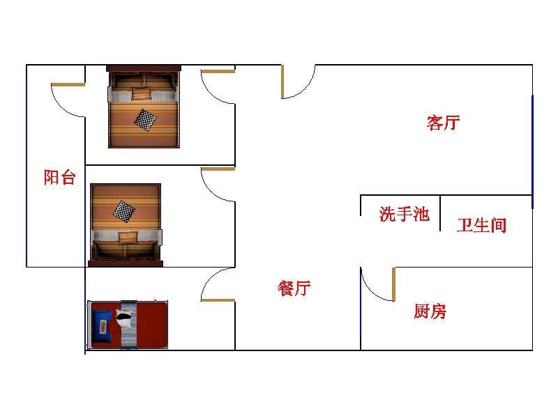二中宿舍 3室2厅  简装 150万