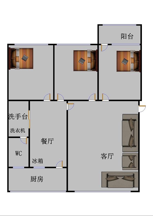 国土局宿舍 3室2厅  简装 133万