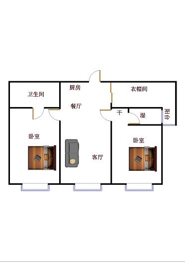 康博公馆 2室2厅  精装 160万