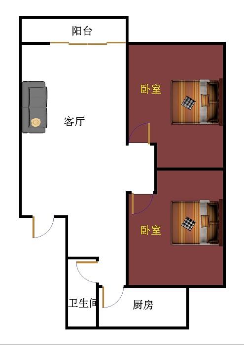 星河湾 2室1厅 双证齐全 简装 85万