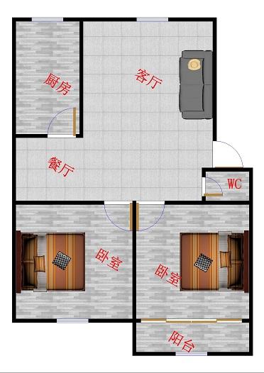 领秀天衢 2室1厅 1楼