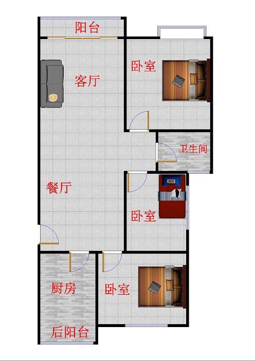 唐人中心 3室2厅  简装 125万