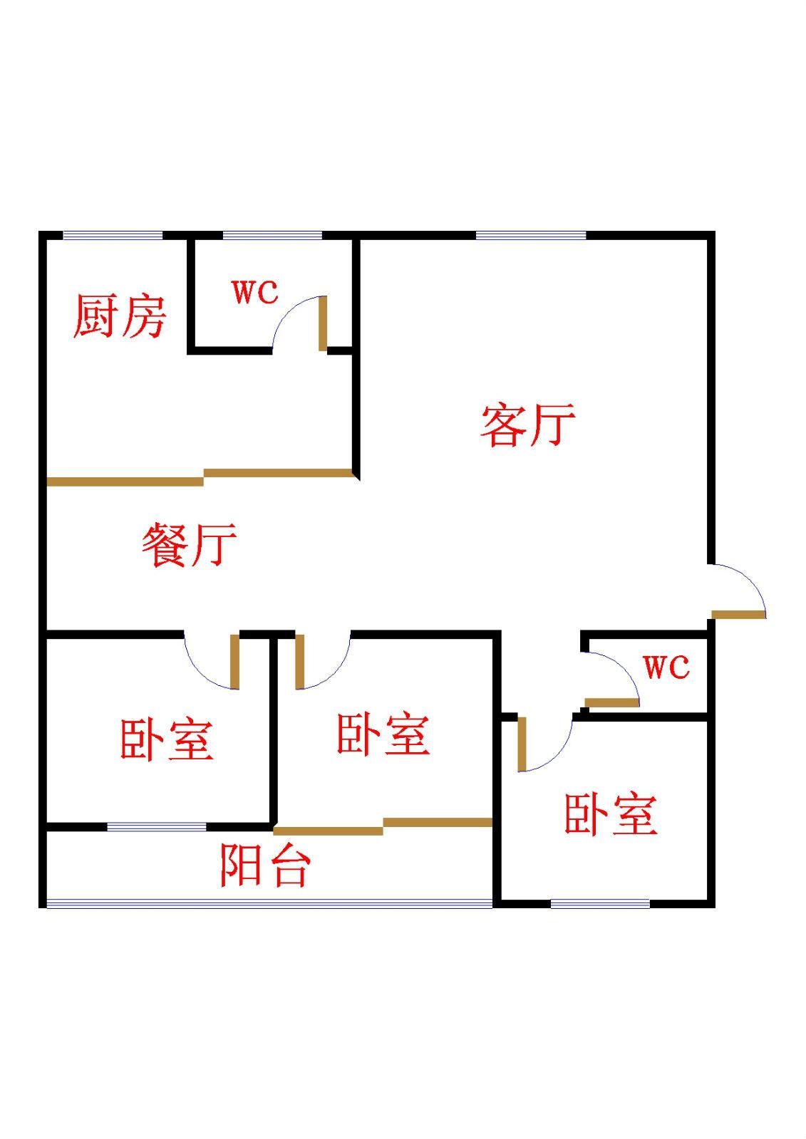 十三局宿舍西区 3室2厅  精装 125万