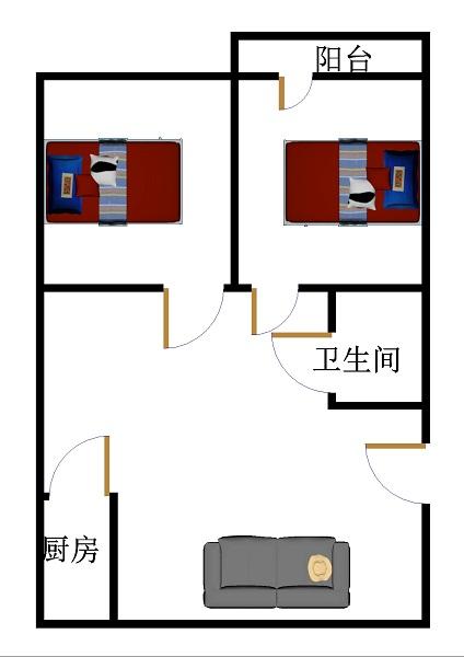 赵辛庄 2室2厅  简装 75万