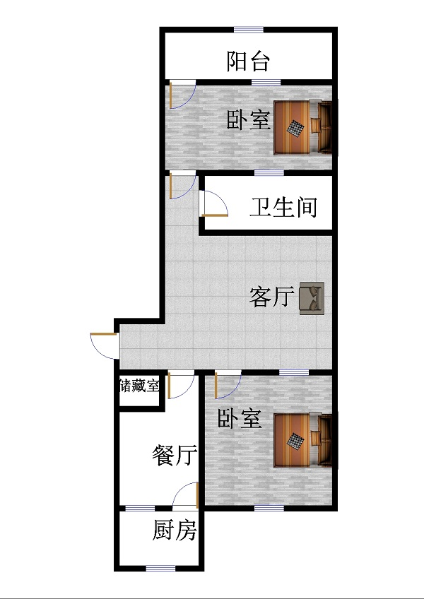 农业银行宿舍 2室1厅 双证齐全 简装 55万