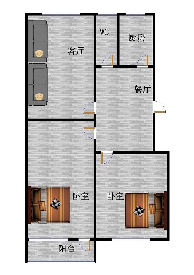 陵东街小区 2室1厅  简装 46万