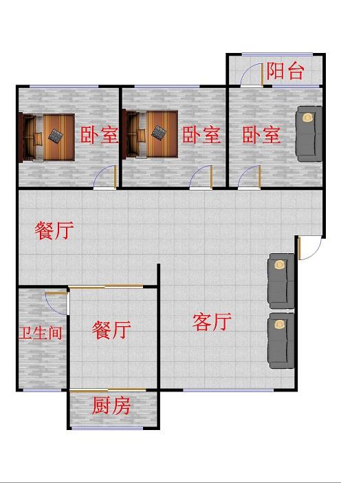 岔河小区 2室2厅  简装 138万
