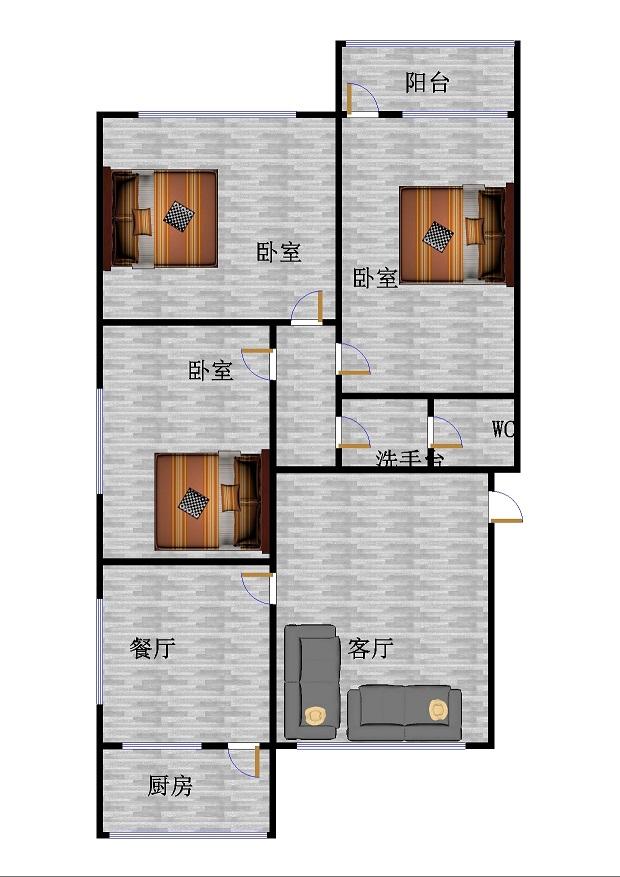 和平公寓南区 3室2厅 双证齐全 简装 110万
