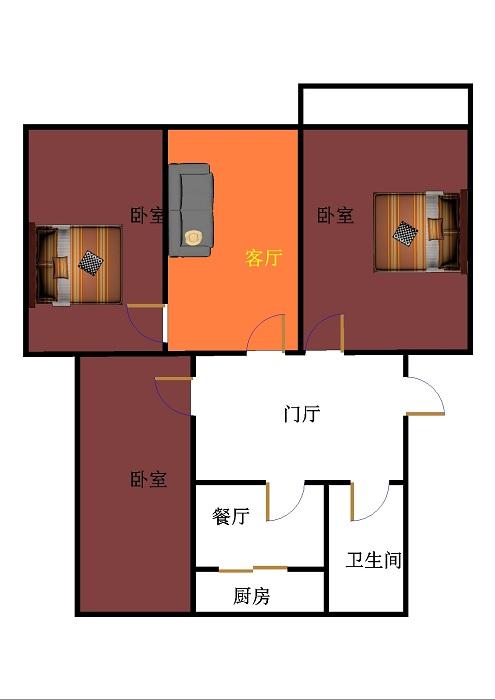 机床厂宿舍东区 2室2厅 双证齐全 简装 70万