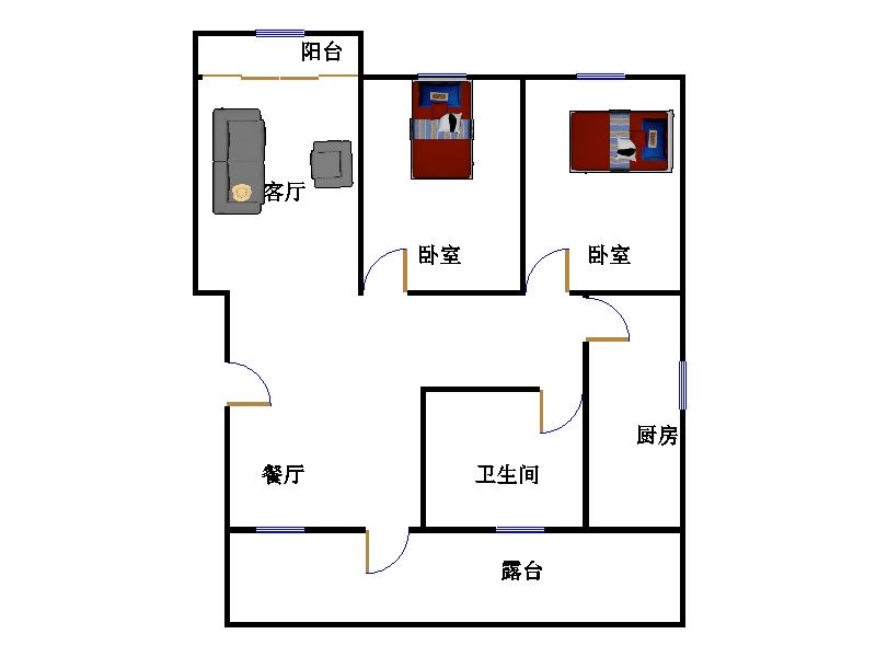 嘉城名居 2室1厅  简装 60万