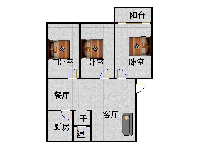 温馨家园 3室2厅 双证齐全 简装 95万