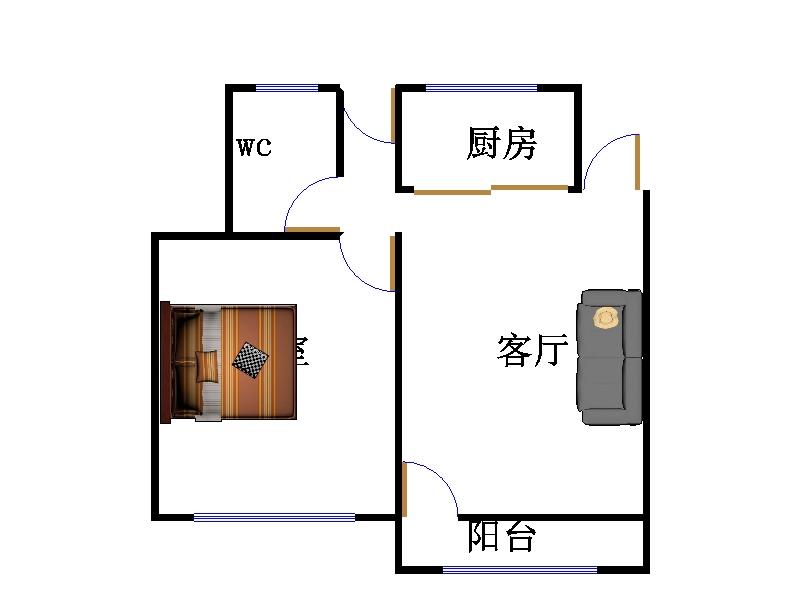 嘉城名居 2室2厅  简装 65万