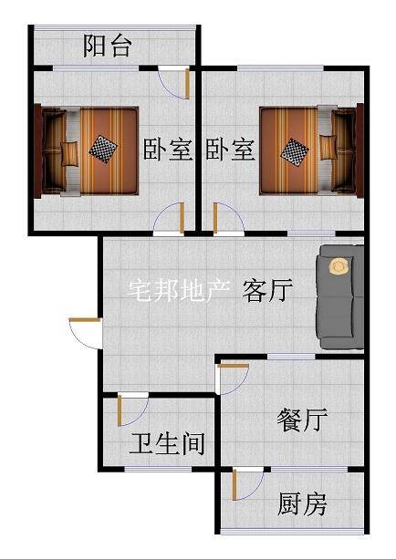 北园小区 2室1厅  简装 48万