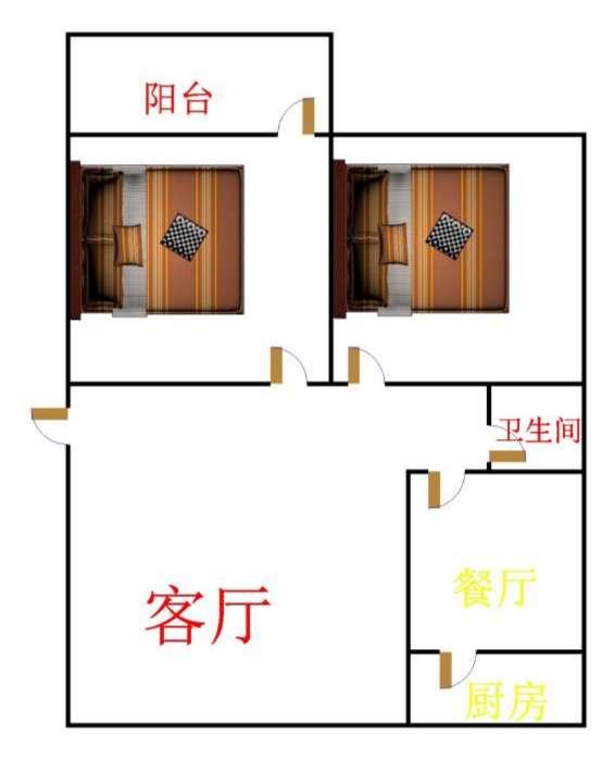 区水利局宿舍 2室1厅 双证齐全 简装 89万