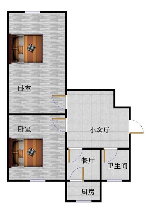 岔河小区 2室1厅  毛坯 81万