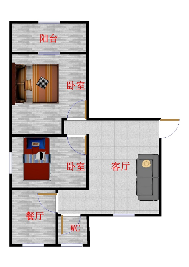青龙潭小区 2室1厅 6楼