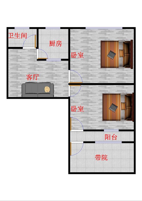 筑路机械厂宿舍 2室1厅 双证齐全 简装 68万