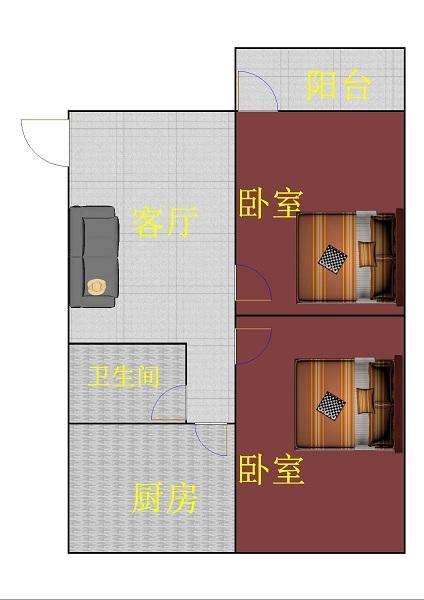 前进小区 2室1厅  简装 55万