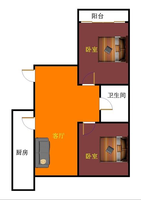 星河湾 2室1厅 双证齐全 简装 75万