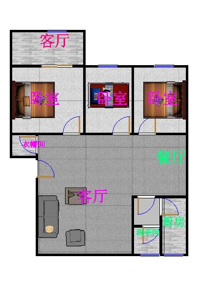 新城市花园小区 3室2厅 双证齐全 简装 100万