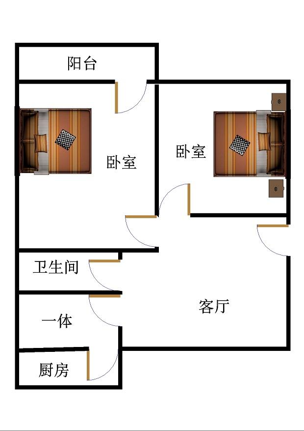 二塑宿舍 2室1厅 双证齐全 简装 51万
