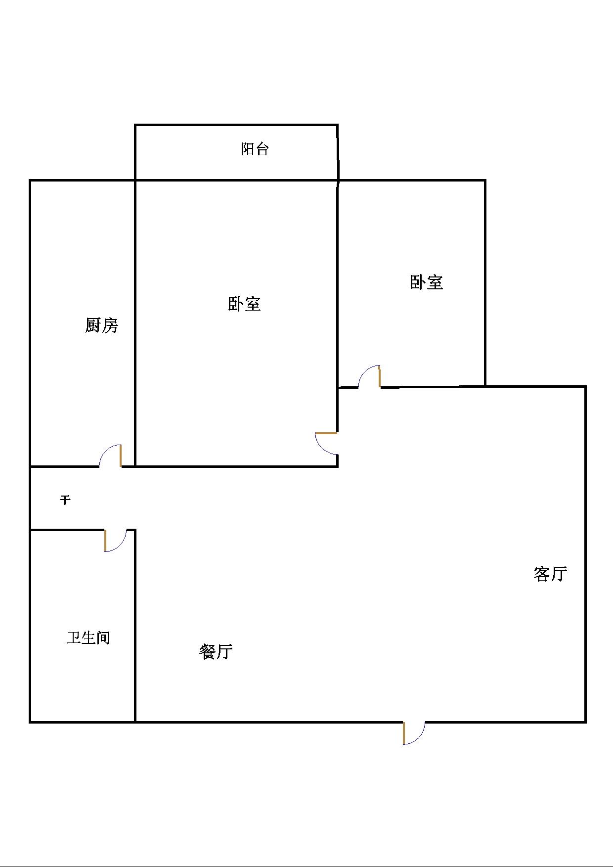尚城国际 2室2厅  简装 75万