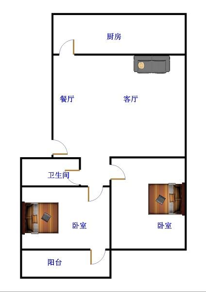 新华印刷厂宿舍 2室2厅  精装 72万