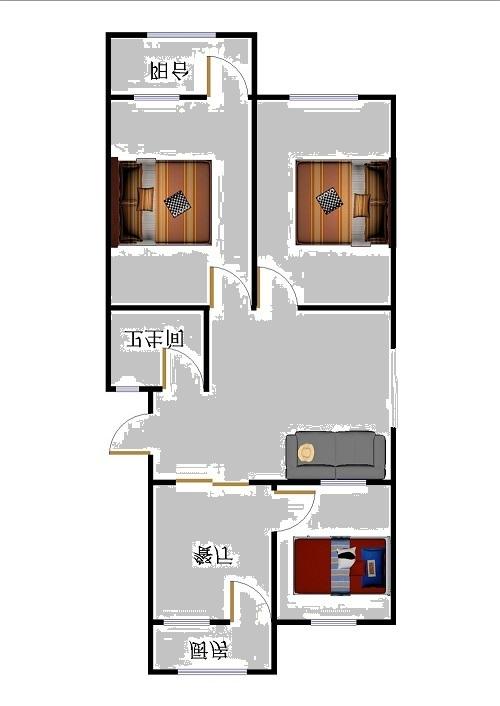岔河小区 2室2厅 双证齐全 简装 82万