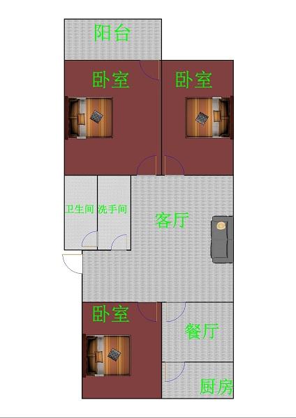 马市街 3室2厅 双证齐全 简装 120万
