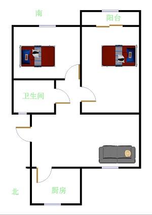 嘉御园 2室1厅 2楼