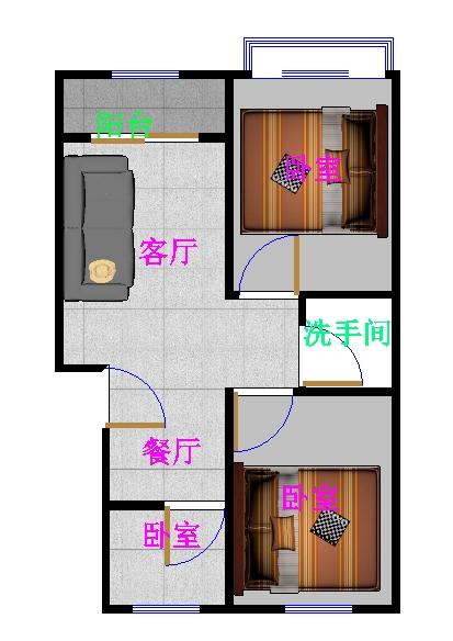 前赵置业园 2室1厅 3楼