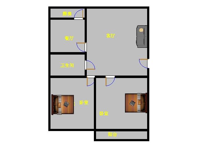 金谷园小区 2室2厅  简装 80万
