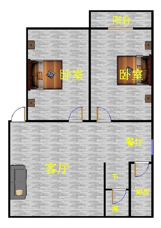 金卉小区 2室2厅 双证齐全 精装 70万