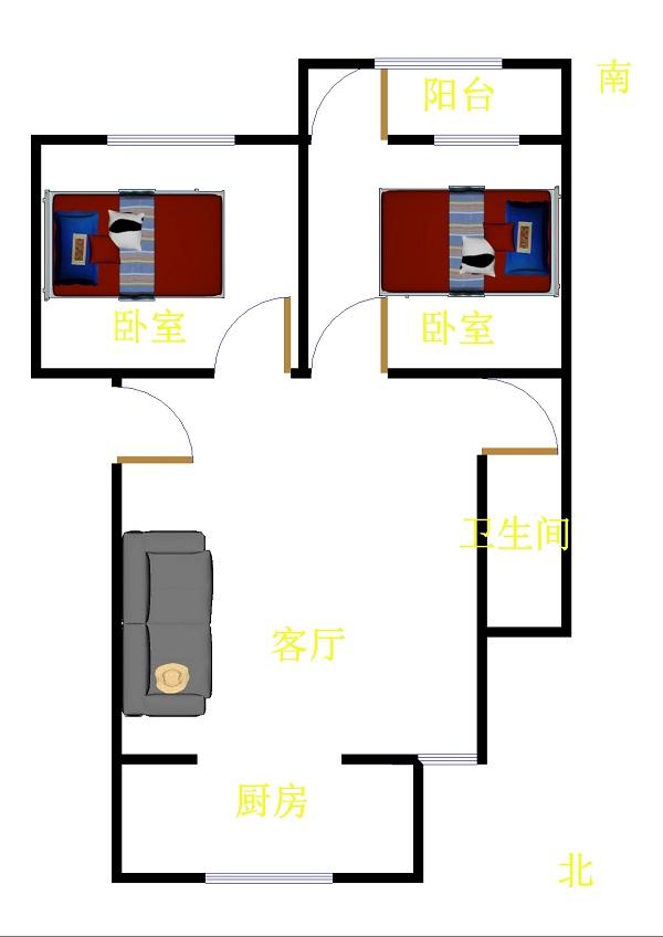 华元小区 2室2厅  简装 78万