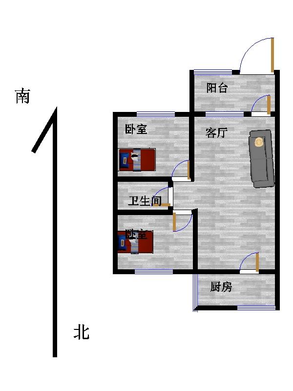 古韵大东关 2室2厅 1楼