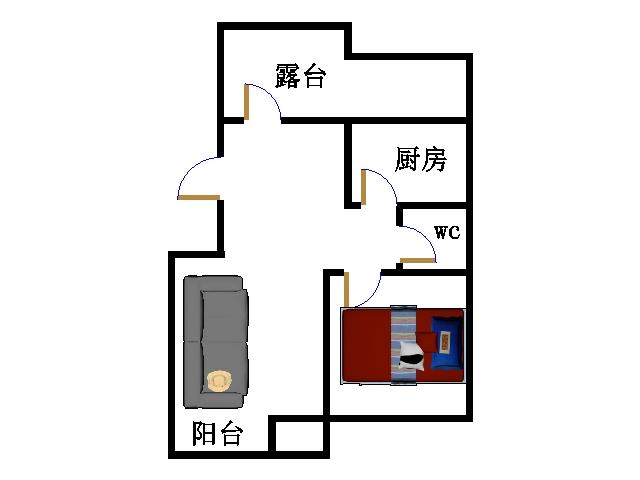 东海现代城小区 1室2厅 6楼