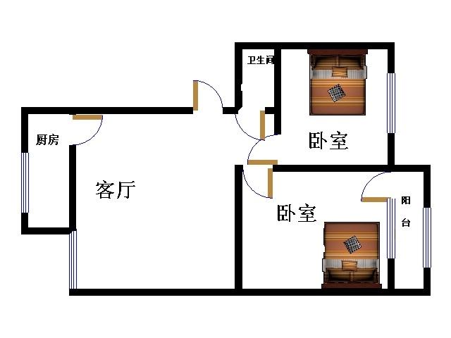 十三局宿舍东区 2室2厅  简装 74万