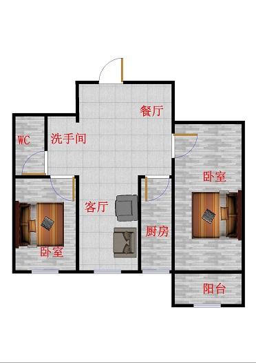 领秀天衢 2室2厅 15楼