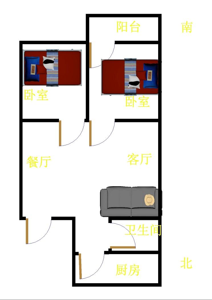 前进小区 2室1厅  简装 72万