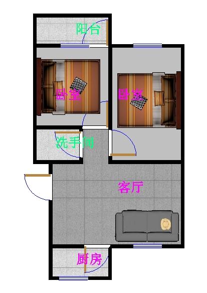 金卉小区 2室1厅 5楼